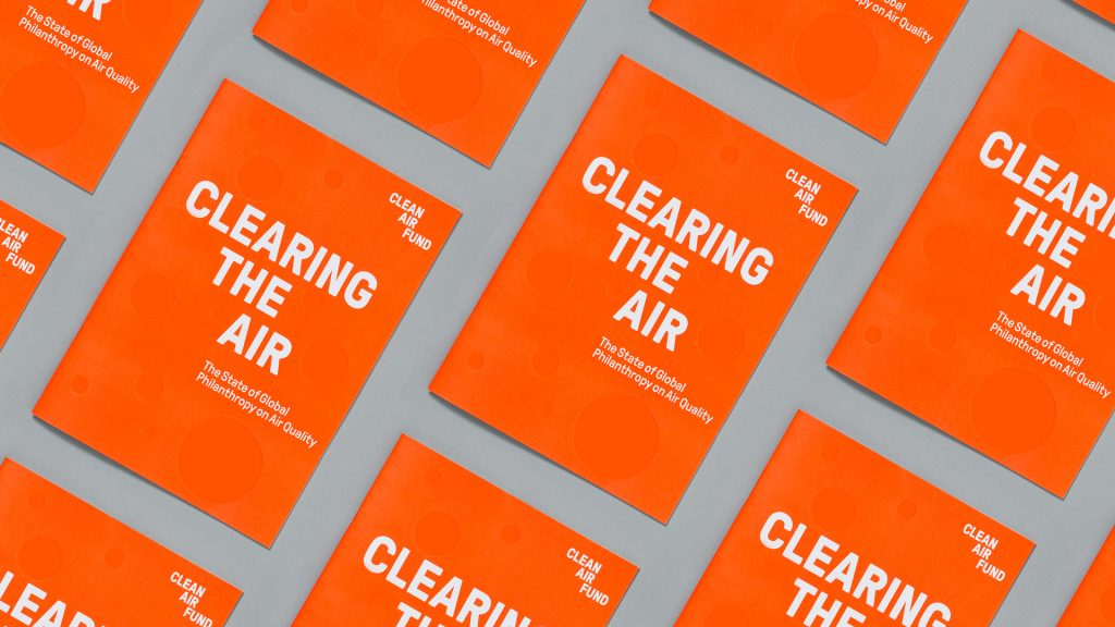 A repeating mock-up of a possible publication cover using the Clean Air Fund branding, using bold typography.