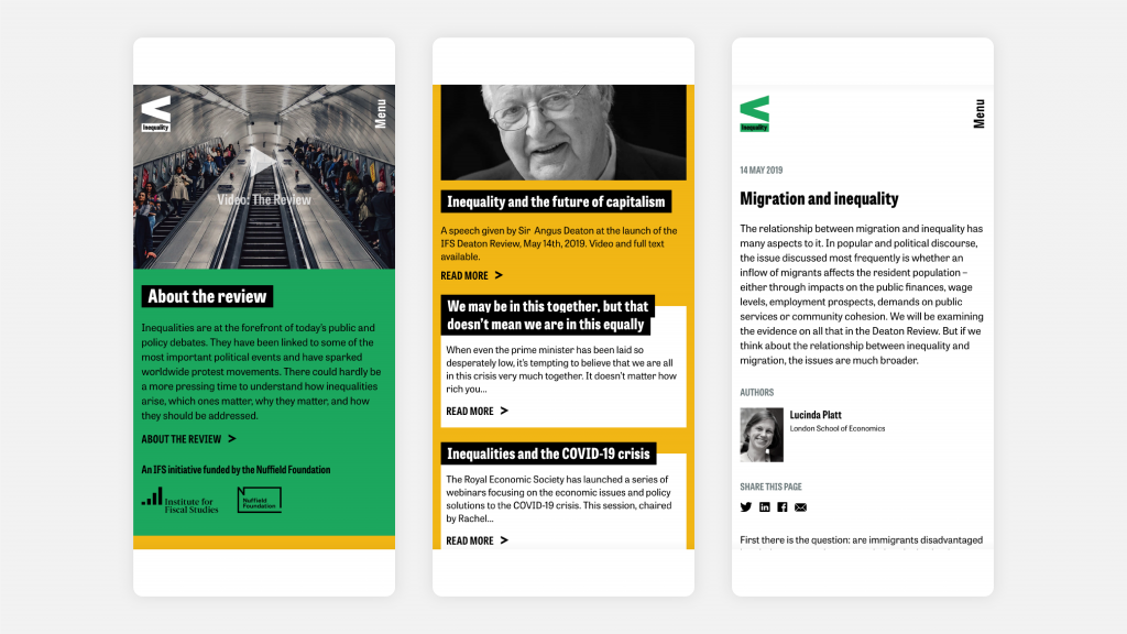 Three pages from the microsite as viewed on tablet and mobile devices.