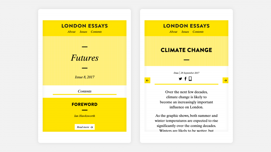 Two views of the London Essays website as seen on tablets and mobile devices.