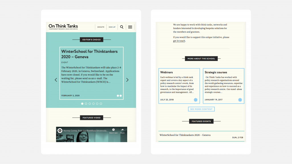 Two views of the On Think Tanks website as it appears on mobile devices, showing how the website changes and adapts to smaller screens.