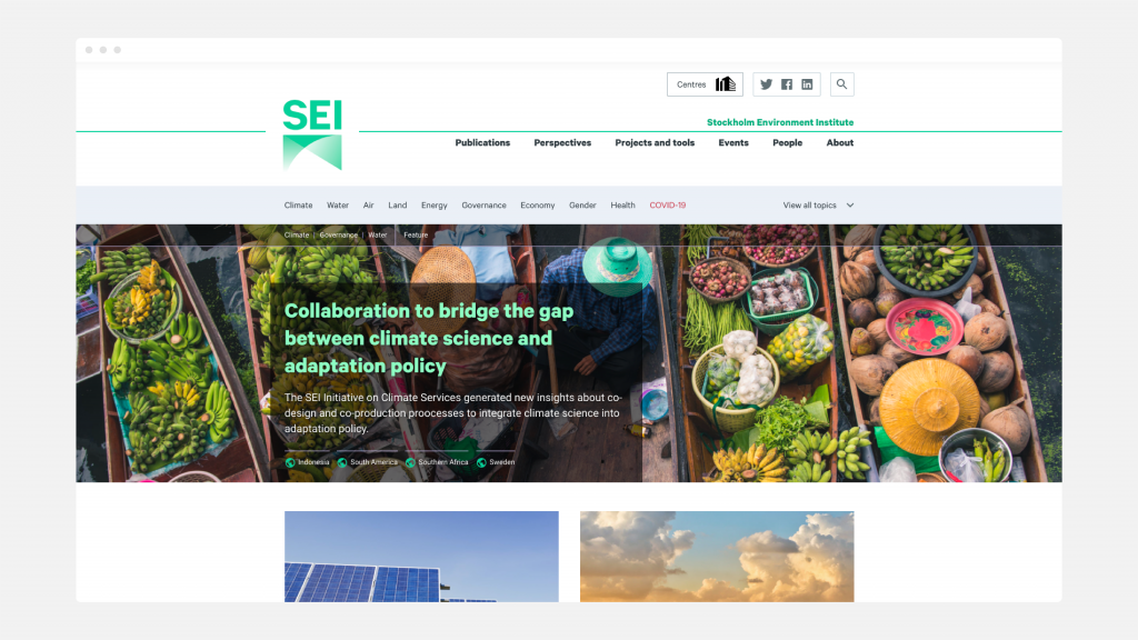 The homepage of the SEI website, showing the main navigation and homepage banner.