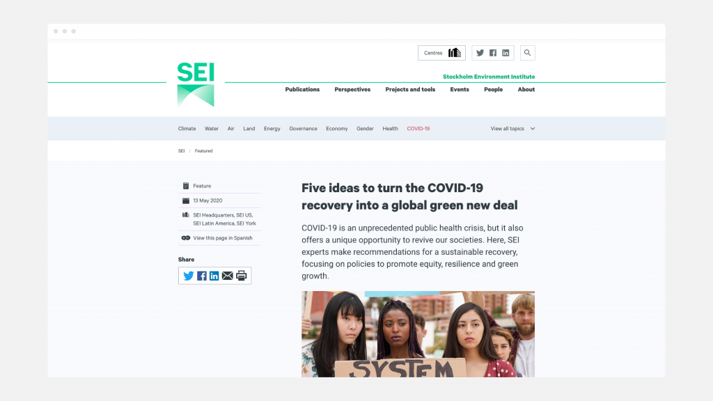 A Feature web page from the SEI website, showing the navigation and start of the article.
