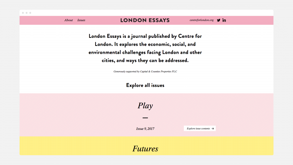 The homepage of the London Essays website.