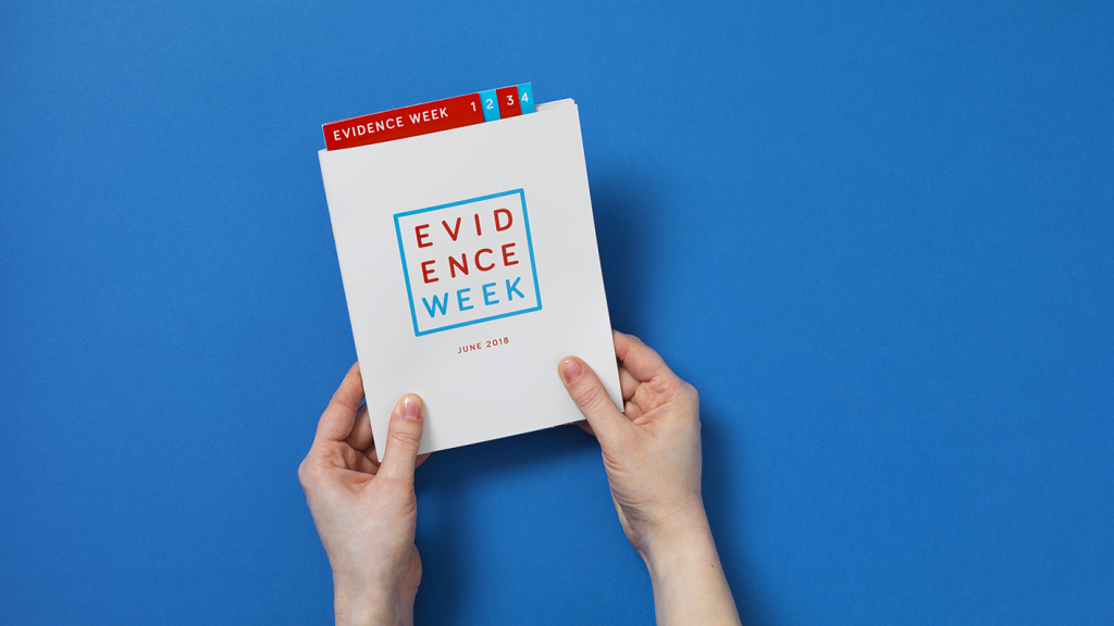 The front cover of the 2018 Evidence Week leaflet.