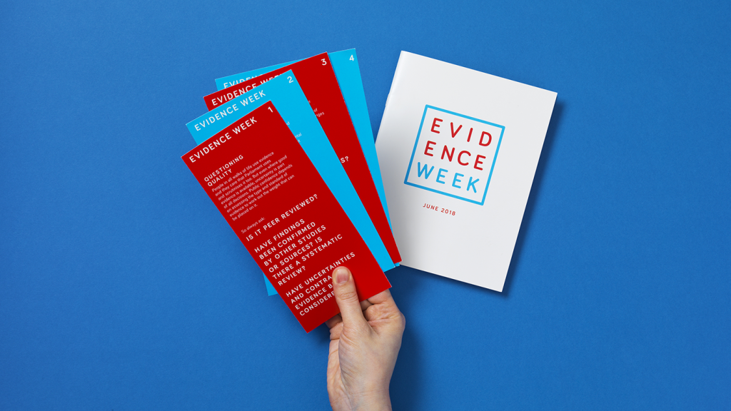 An array of pamphlets and leaflets from Evidence Week 2018.
